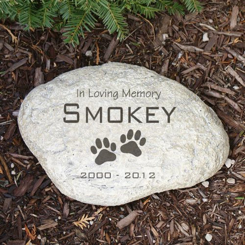 In Loving Memory Paw Prints Garden Stone