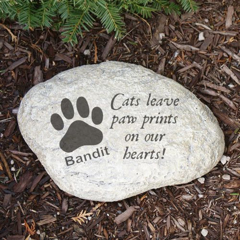Paw Prints on Our Hearts Cat Memorial Garden Stone