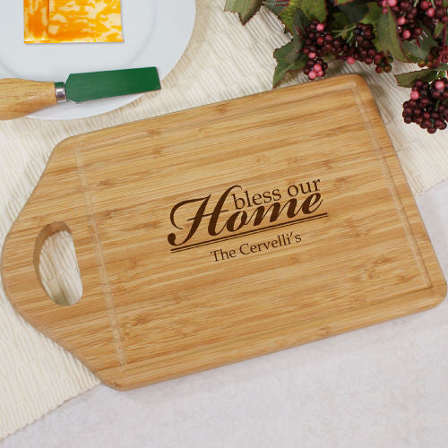 Bless Our Home Personalized Bamboo Cutting Board