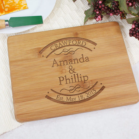 Couple's Engraved Bamboo Cheese Board