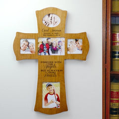 Engraved Wooden Photo Memorial Cross