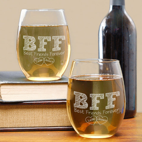 BFF Personalized Stemless Wine Glass Set