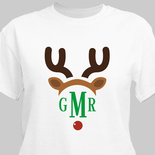 Child's Monogrammed Reindeer T-Shirt