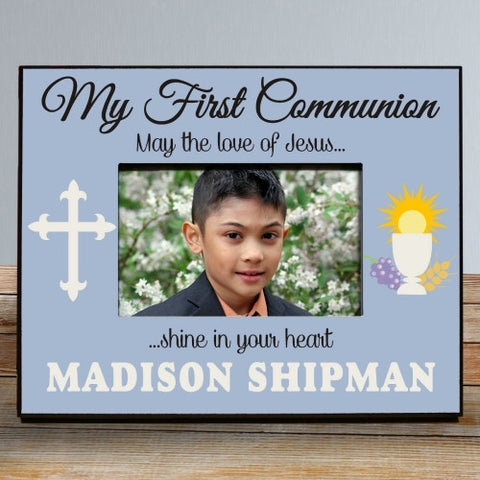 My First Communion Personalized Blue Picture Frame