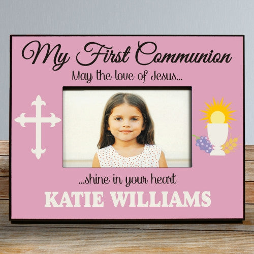 My First Communion Personalized Pink Picture Frame