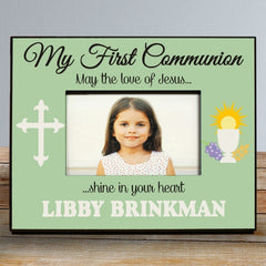 My First Communion Personalized Green Picture Frame