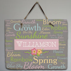 Personalized Spring Words Sign