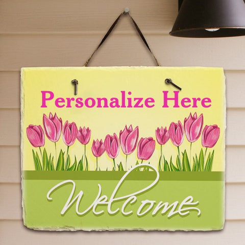 Tulips Personalized Welcome Plaque