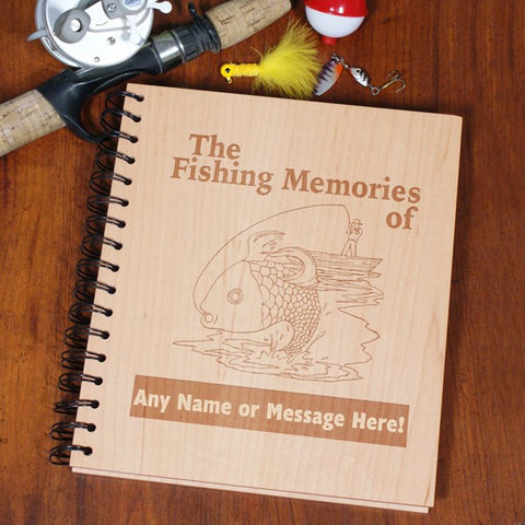 Fishing Memories Engraved Wood Photo Album