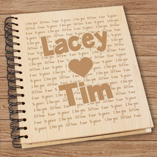 I Love You Engraved Names Wood Photo Album
