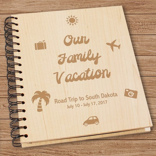 Engraved Vacation Wood Photo Album