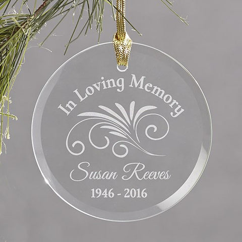 Engraved Memorial Glass Ornament