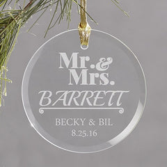Mr & Mrs Engraved Glass Ornament