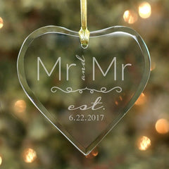 Engraved Couple's Heart Ornament