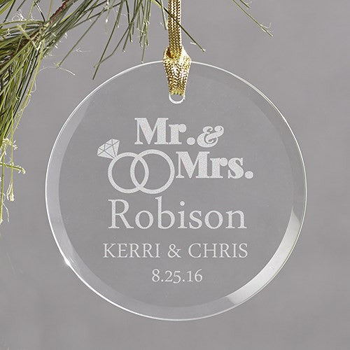 Wedding Rings Engraved Glass Ornament