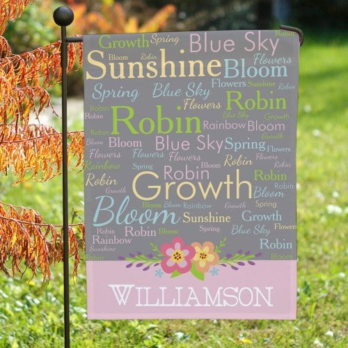 Spring Words Personalized Garden Flag