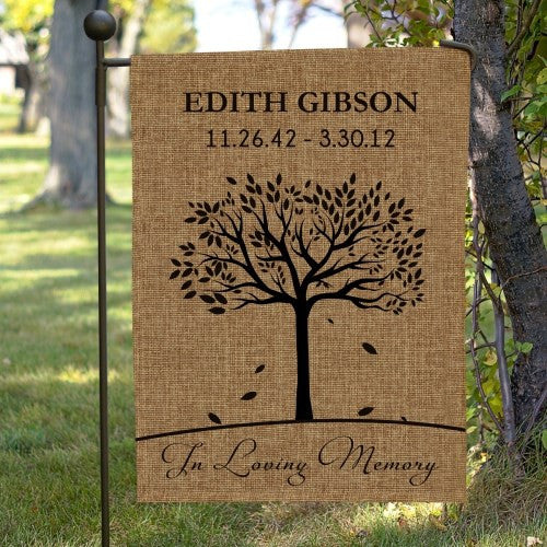 In Loving Memory Burlap Garden Flag