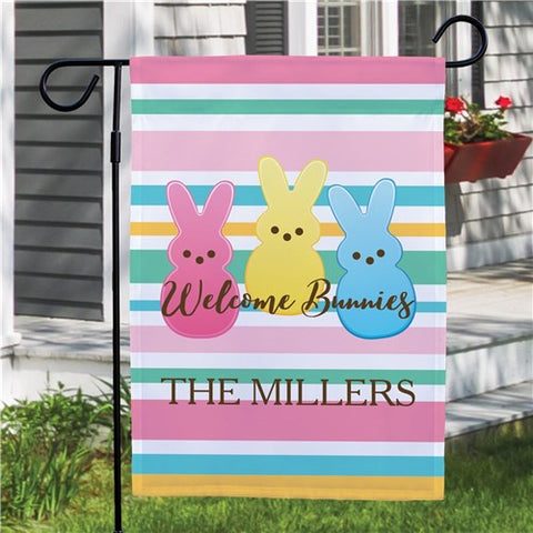 Personalized Welcome Bunnies Garden Flag