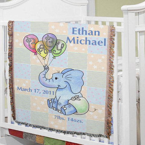 Baby Elephant Tapestry Throw  (Boy & Girl Designs)