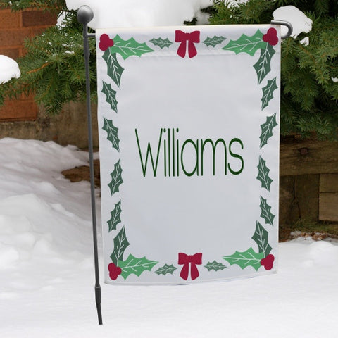 Holly Leaves Personalized Garden Flag