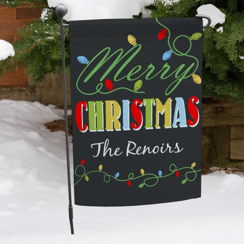 Christmas Lights Personalized Garden Flag
