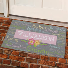 Spring Words Personalized Welcome Mat