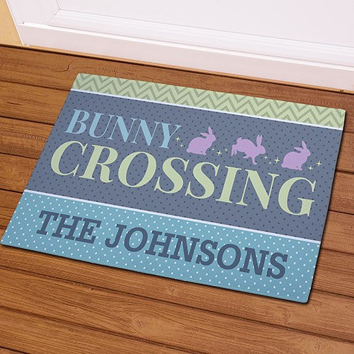 Bunny Crossing Personalized Doormat