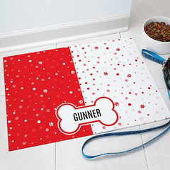 Personalized Polka Dots & Paws Pet Mat