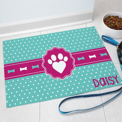 Personalized Polka Dots & Bones Print Pet Mat