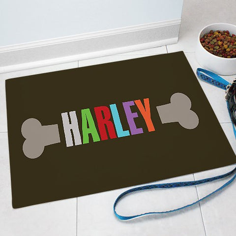 Dog Bone With Name Food Mat