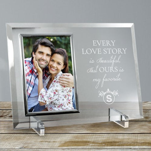 Engraved Love Story Glass Photo Frame
