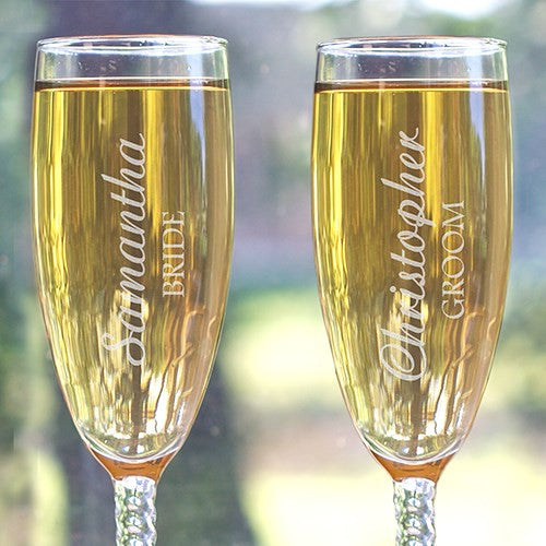 Bride and Groom Engraved Flute Set