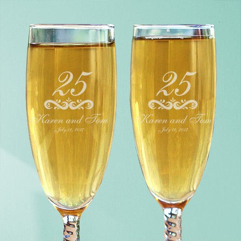 Anniversary Personalized Toasting Flutes
