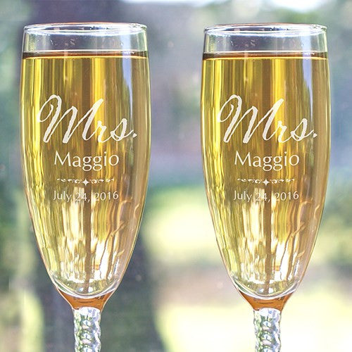 Mrs. and Mrs. Personalized Flute Set