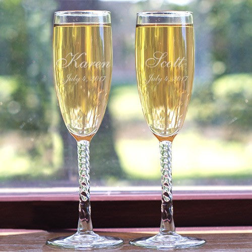 Engraved Wedding Toasting Flute Set