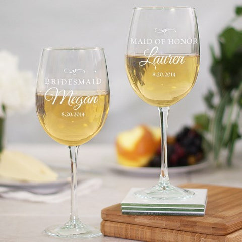 Wedding Party Engraved Wine Glass