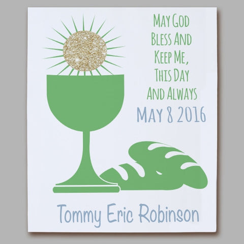 First Eucharist Green Personalized Wall Canvas
