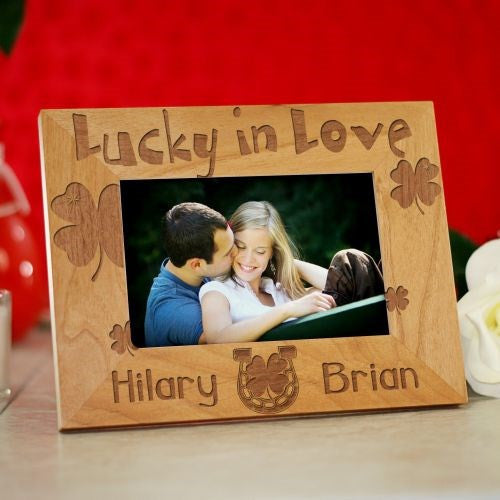 Lucky In Love Engraved Wood Photo Frame