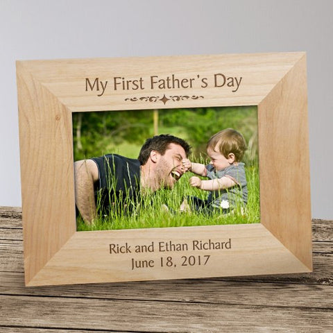 My First Father's Day Engraved Wood Frame