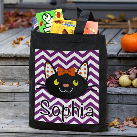 Girl Black Cat Personalized Treat Bag
