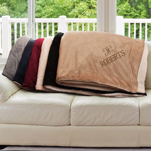 Embroidered Name & Initial Sherpa Blanket