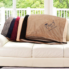 Embroidered Graduation Sherpa Blanket