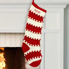 Personalized Red Striped Christmas Stocking