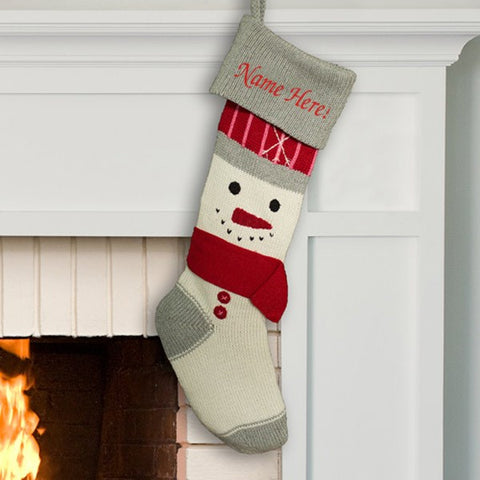 Personalized Knit Snowman Stocking