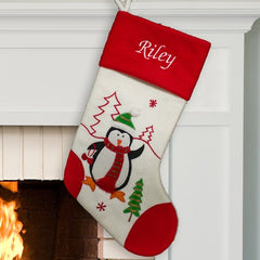 Embroidered Penguin Christmas Stocking