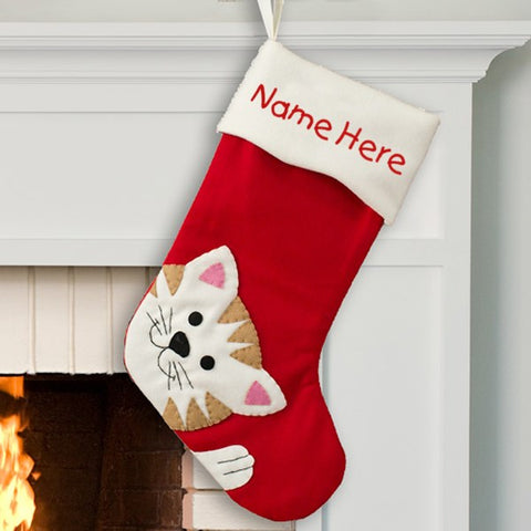 Personalized Cat Christmas Stocking
