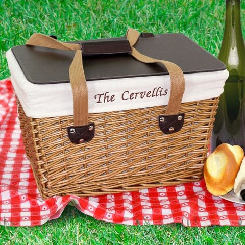 Picnic Basket With Embroidered Liner