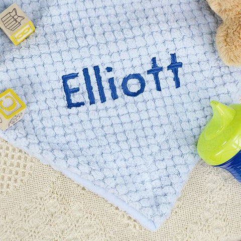 Blue Baby Blanket With Embroidery