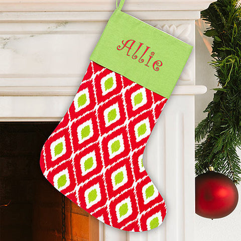 Ikat Personalized Christmas Stocking