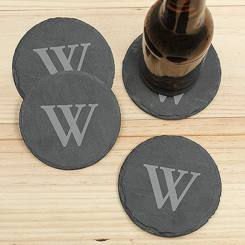 Engraved Initial Black Slate Coaster Set